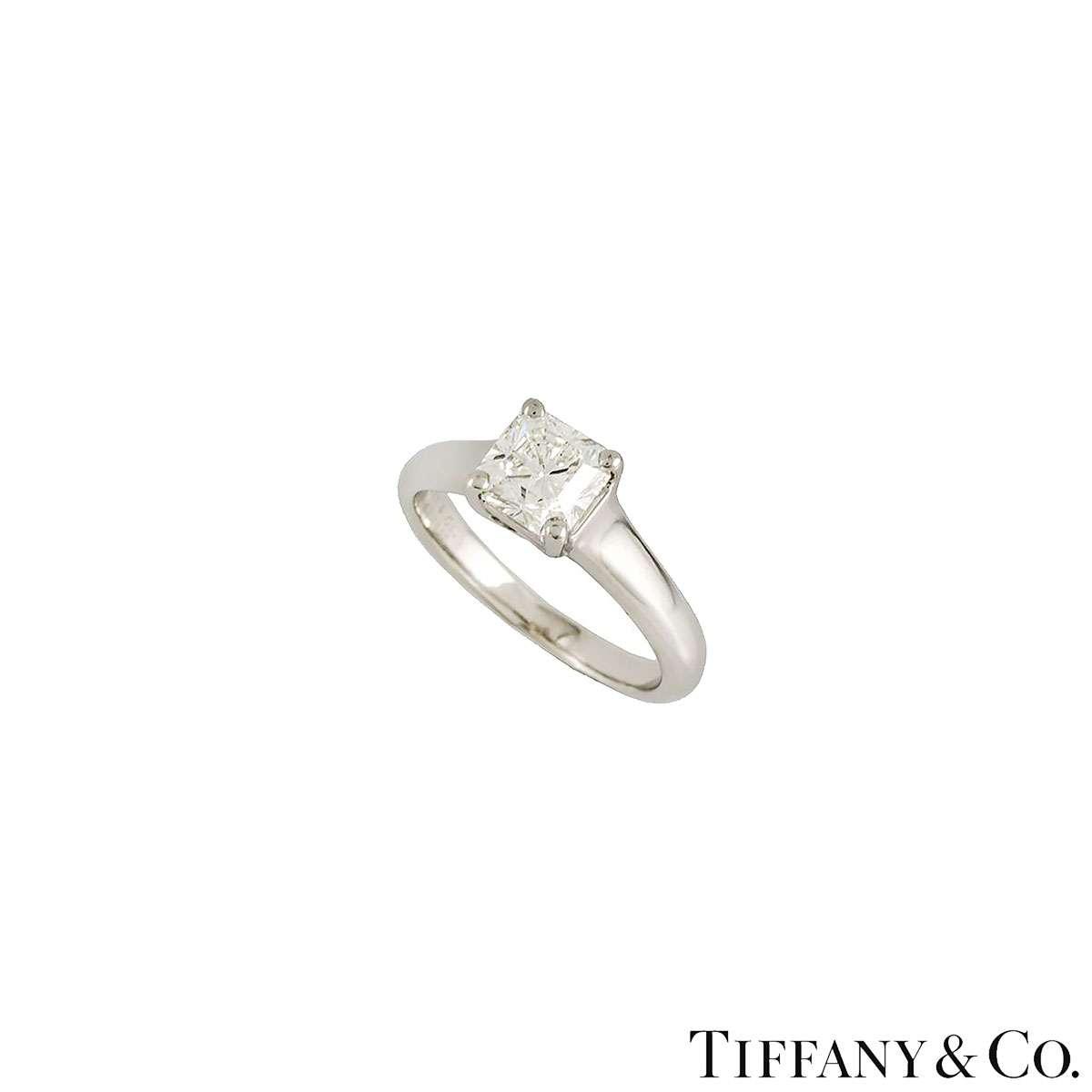 Tiffany & Co Lucida Cut Diamond Ring in Platinum 1.00ct F/VVS1 B&P
